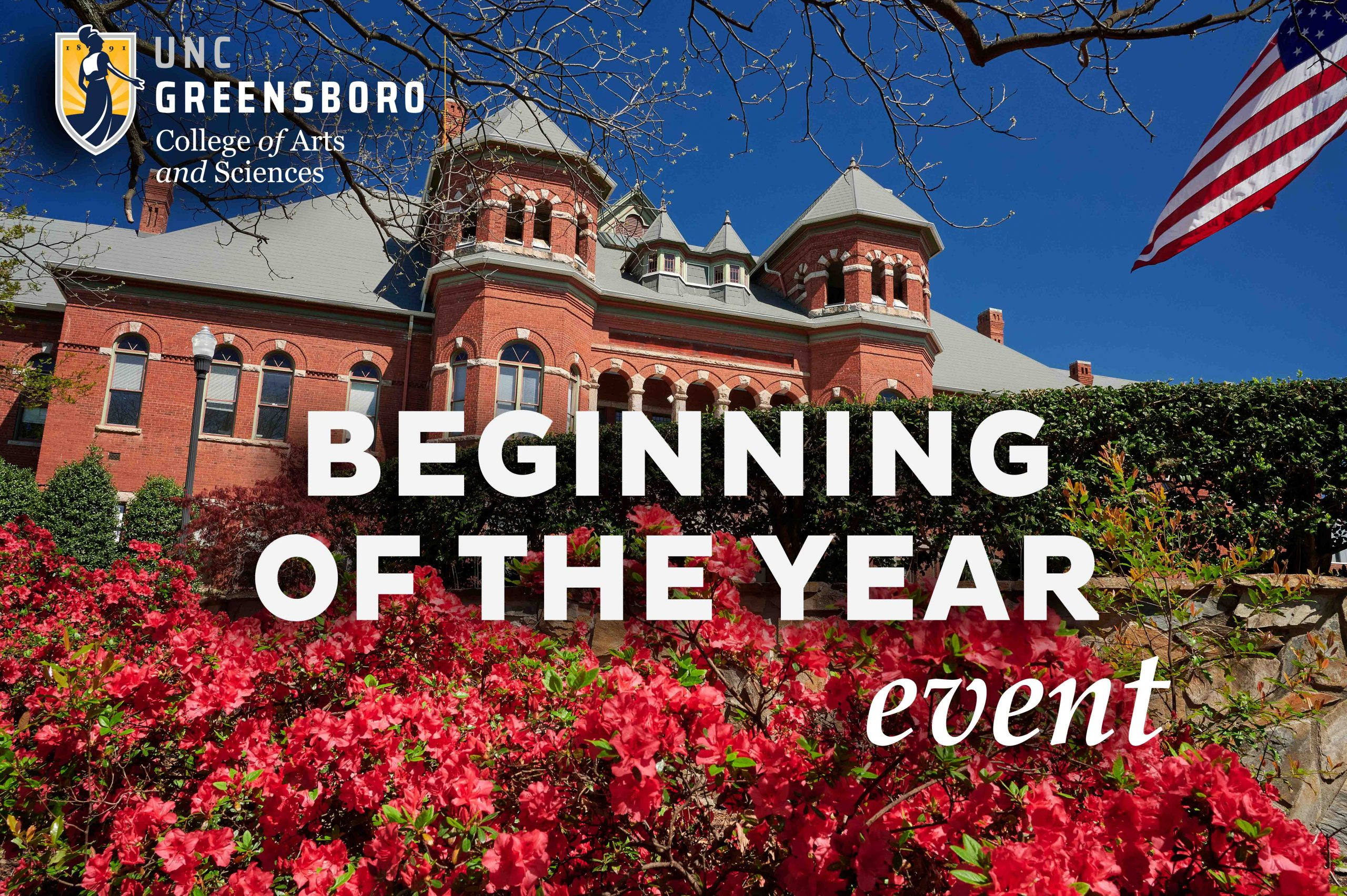 Image of text saying Beginning of the Year Event over image of Foust Building