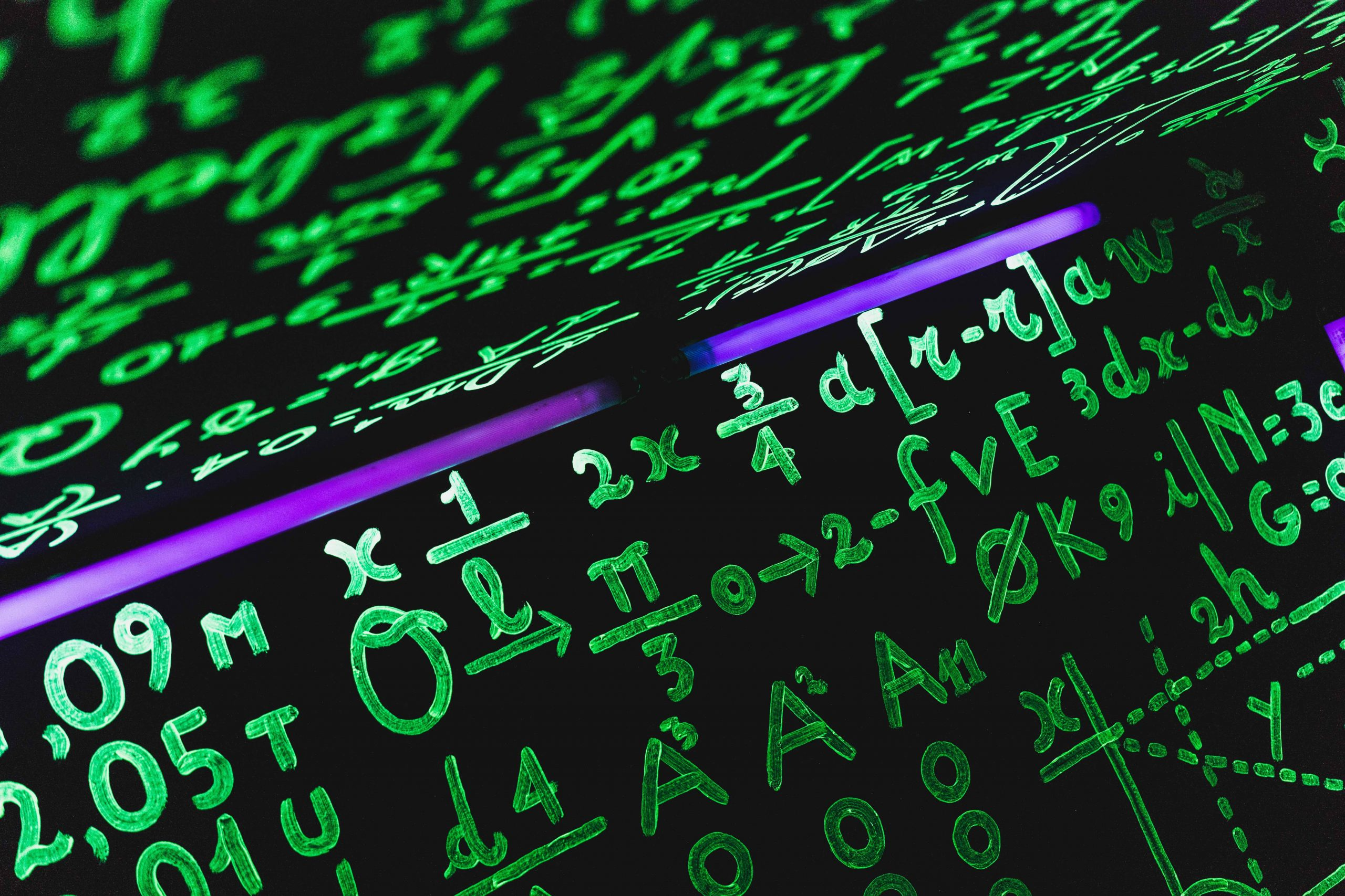 Green math equations on black background