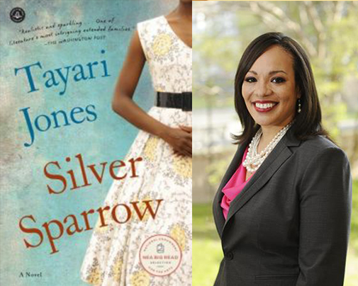 Tayari Jones and the cover of her book, Silver Sparrow