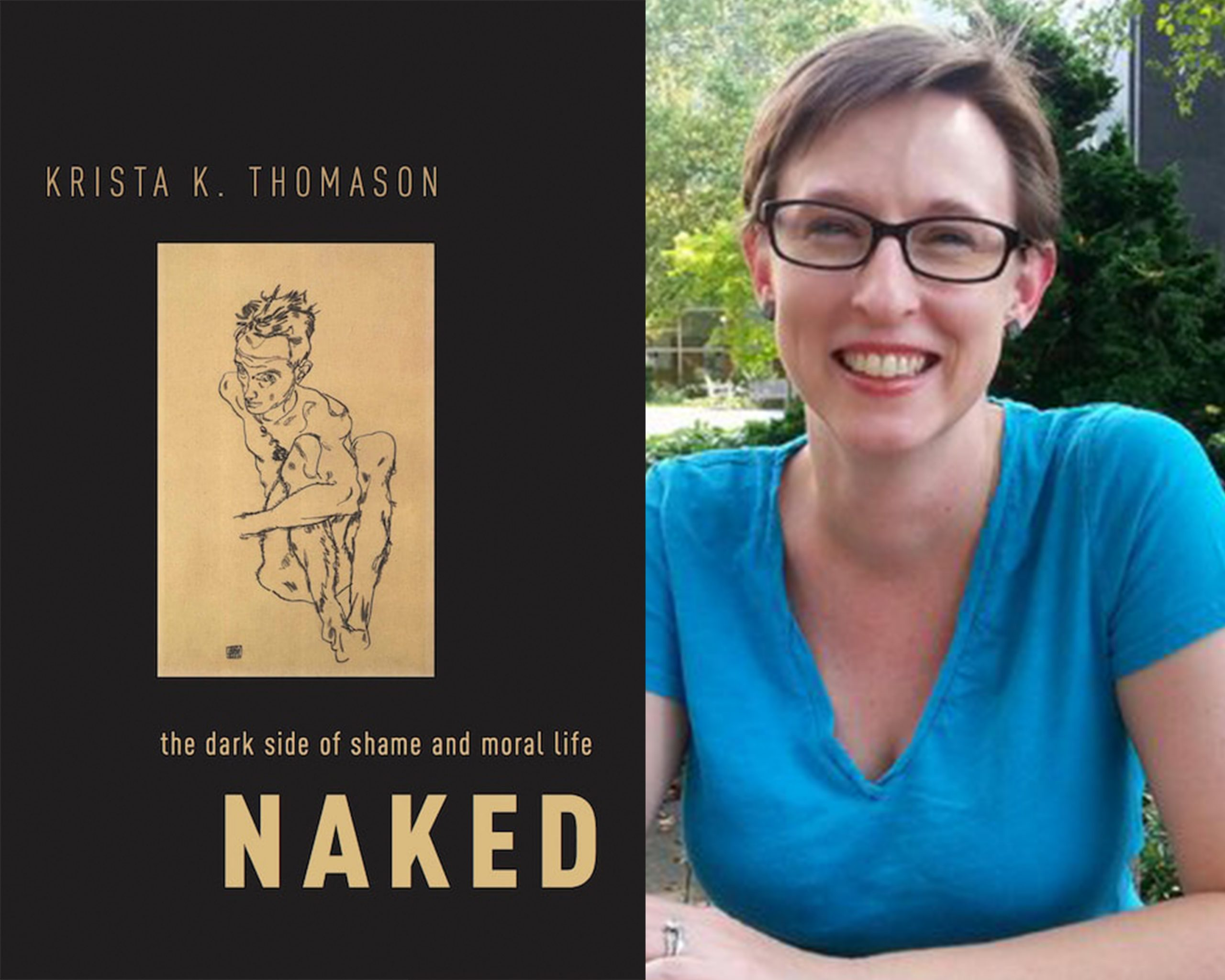Krista Thomason and the cover of her book, Naked