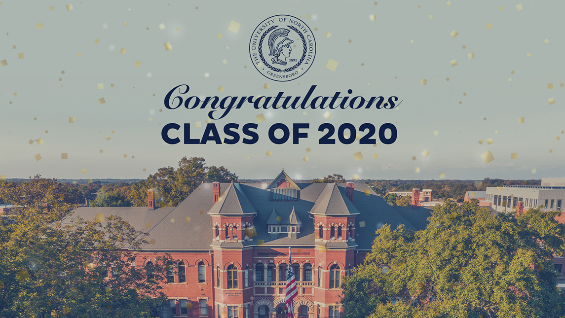 Image of text that says Congratulations class of 2020 over Foust Building