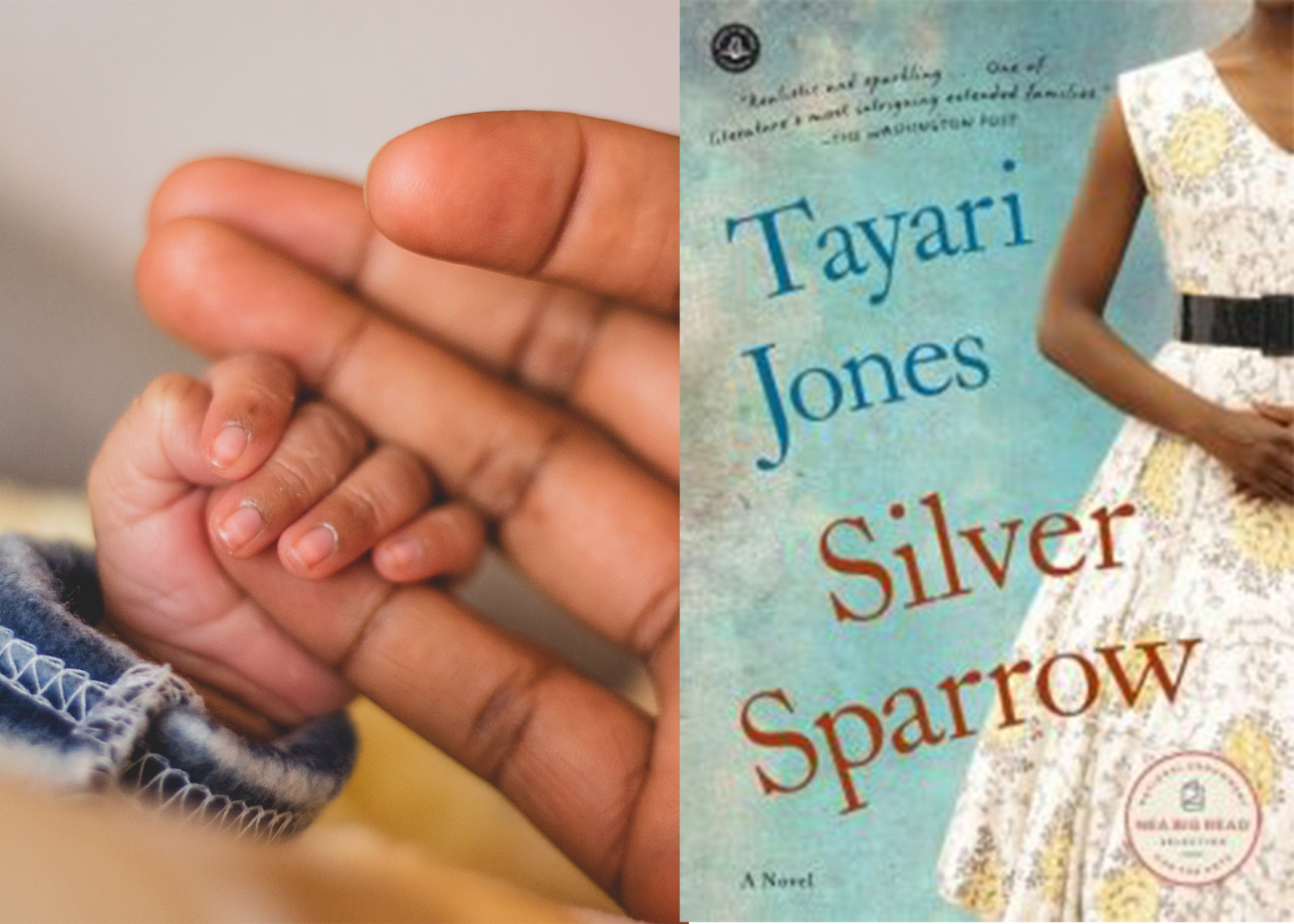Father hand with baby hand and cover of book 'Silver Sparrow'