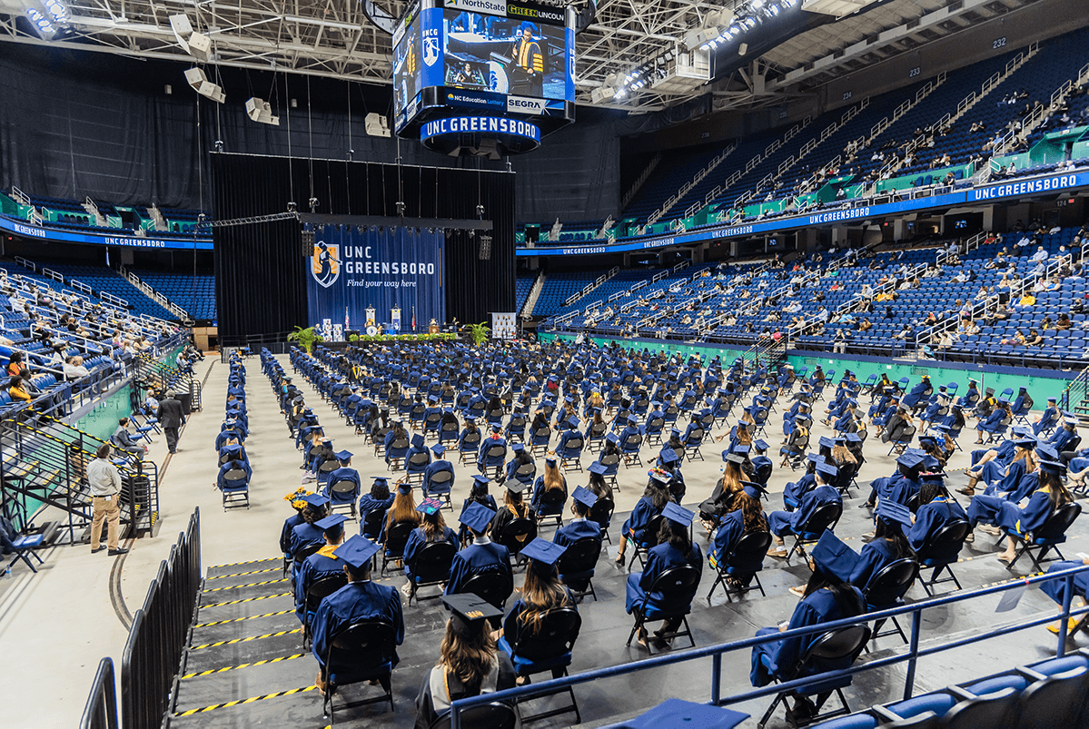 Graduates seated for Commencement