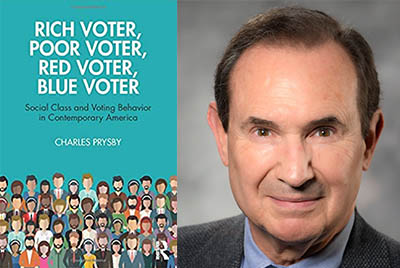 Rich Voter, Poor Voter book cover and prysby headshot