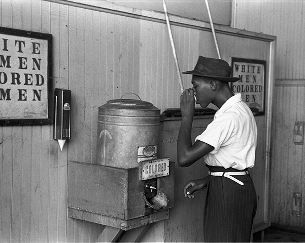 """African American Man at """"Colored"""" water fountain"""